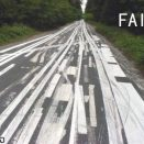 Road paint lines fail